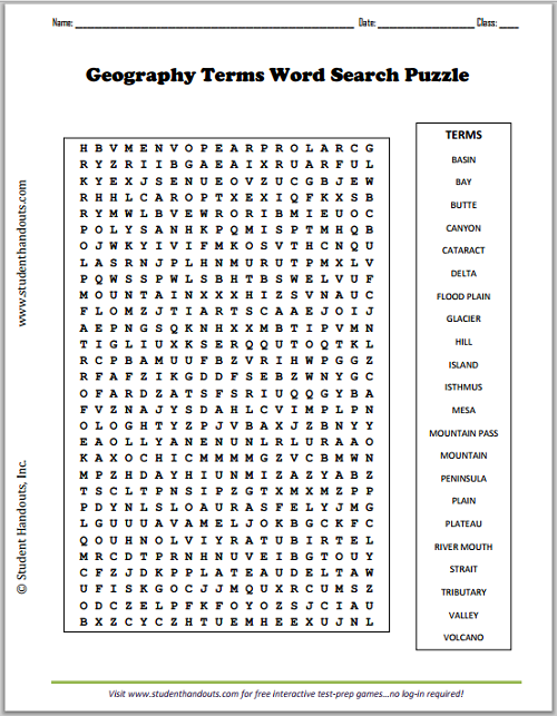 student handouts economics terms word search puzzle