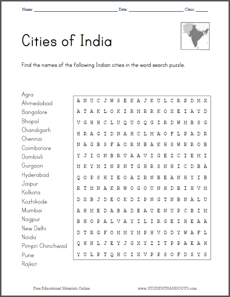 Students find the names of twenty prominent Indian cities in the word ...
