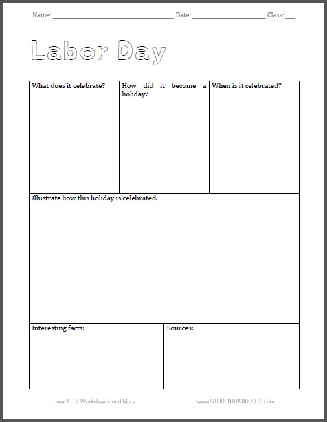 Labor Day Notebooking Page | Student Handouts