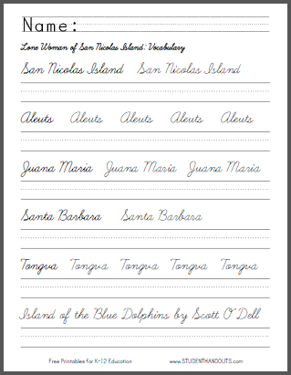 Island of the Blue Dolphins - Worksheets | Student Handouts