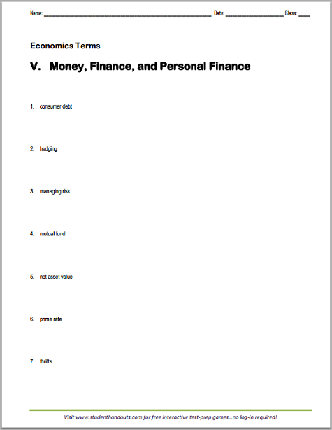 Money and Personal Finance - Vocabulary Worksheet