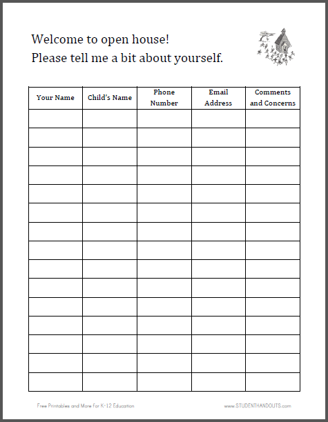 Click here to print for more of our free printable forms for Back to school sign in sheet template