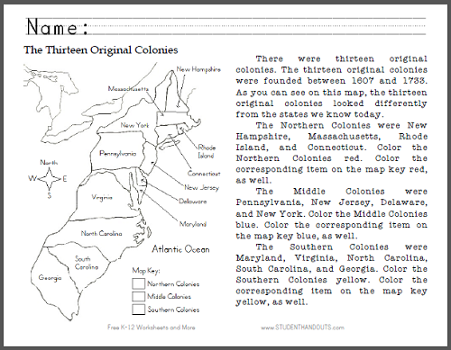 Thirteen Original Colonies Map Worksheet Student Handouts - Original thirteen colonies map