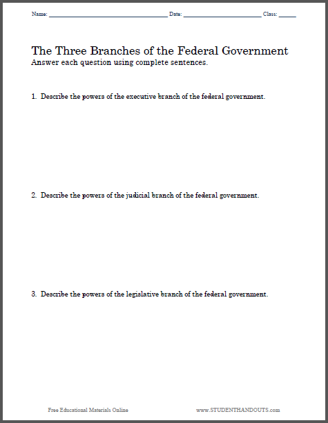 Worksheets 3 Branches Of Government Worksheets three branches of government essay questions