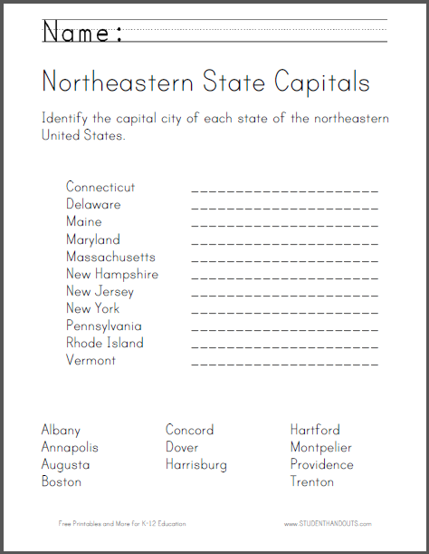 Click here to print. Students identify the capital city of each ...