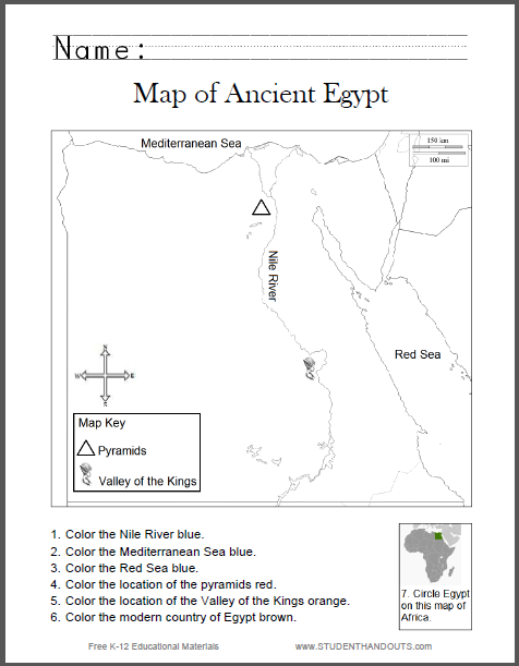 Worksheets Ancient Egypt Worksheets map of ancient egypt worksheet for kids grades 1 6 student handouts