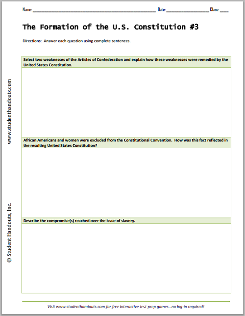 Constitution Questions Worksheet – Constitutional Convention Worksheet