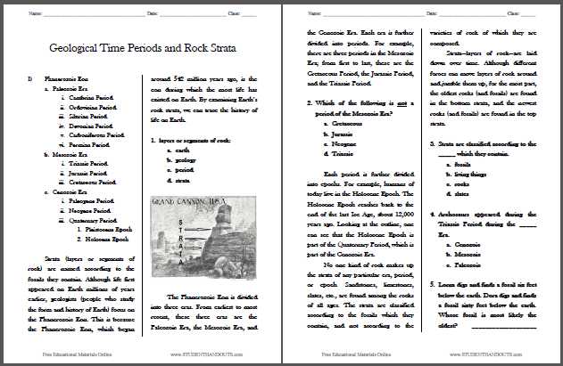 Geological Time Periods and Rock Strata Reading Worksheet – Social Studies Worksheets Middle School